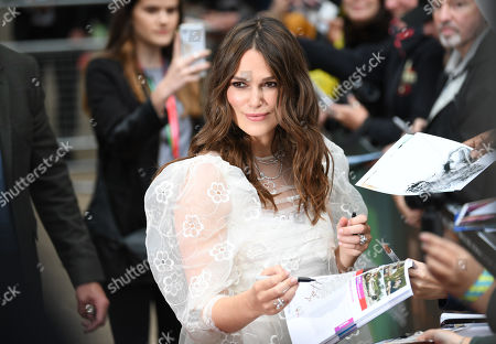 Kiera Knightley signs autographs at a screening of 'Official Secrets' during the BFI London Film Festival in Embankment Garden Cinema in London, Britain, 10 October 2019. The British Film Institute festival runs from 02 to 13 October.