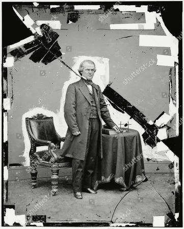 Stock Picture of This 1865-1880 photo made available by the Library of Congress shows a damaged glass negative of President Andrew Johnson