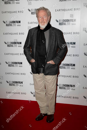Ridley Scott. Film Producer RIdley Scott poses for photographers, on arrival at the Premiere of the film 'Earthquake Bird' which is screened as part of the London Film Festival in central London on