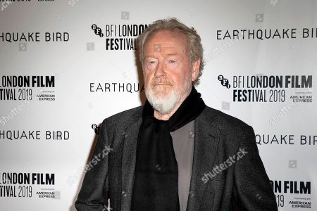 Ridley Scott poses for photographers, on arrival at the Premiere of the film 'Earthquake Bird' which is screened as part of the London Film Festival in central London on