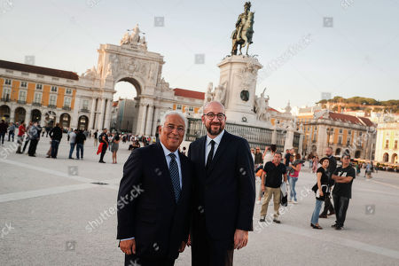 Portuguese Prime Minister Antonio Costa (L) poses for a picture with the elected president of the European Council, Belgian Prime Minister Charles Michel, during a walk in the center of Lisbon, Portugal, 10 October 2019.