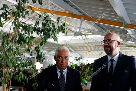 Stock Picture of Portuguese Prime Minister Antonio Costa (L) chats with the elected president of the European Council, Charles Michel, during a visit to the Second Home Lisbon, Portugal, 10 October 2019.