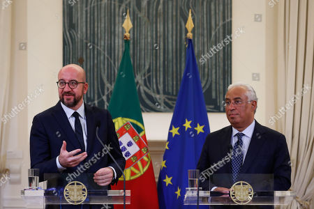 Portuguese Prime Minister Antonio Costa (L) and the president-elect of the European Council, Belgian Prime Minister Charles Michel, during a press conference in Lisbon, Portugal, 10 October 2019.