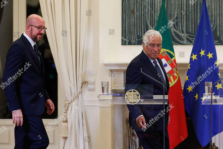 Portuguese Prime Minister Antonio Costa (L) and the president-elect of the European Council, Belgian Prime Minister Charles Michel, arrive for a press conference in Lisbon, Portugal, 10 October 2019.