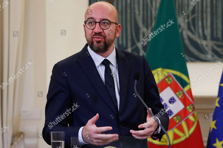 The president-elect of the European Council, Belgian Prime Minister Charles Michel, speaks during a press conference with Portuguese Prime Minister Antonio Costa (not pictured) in Lisbon, Portugal, 10 October 2019.