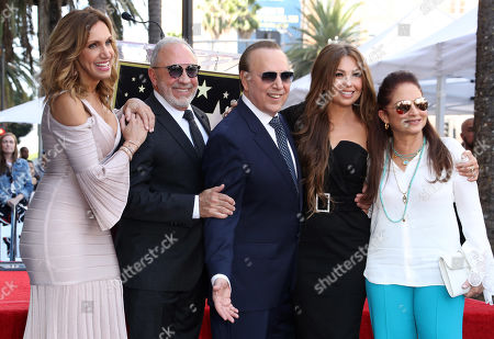 Stock Image of Lili Estefan, Emilio Estefan, Tommy Mottola, Thalia and Gloria Estefan
