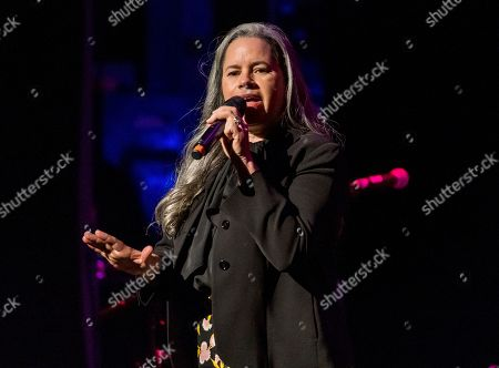 """Natalie Merchant performing at Cyndi Lauper's 8th Annual """"Home for the Holidays"""" benefit concert in New York. Merchant is the sixth recipient of the John Lennon Real Love Award, and will headline a tribute concert to the former Beatle in New York on Dec. 6. She's also getting an award from ASCAP this month"""