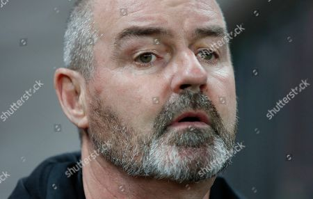Stock Image of Head coach of Scotland Steve Clark during the UEFA 2020 Qualifying round - Group I soccer match of Russian and Scotland at Luzhniki stadium in Moscow, Russia, 10 October 2019.