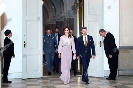 Stock Image of The Danish Crown Prince Frederik (2-r) and his wife Mary (C) arrive at Gala Dinner on the occasion of the World Mayors Summit in Christiansborg in Copenhagen, Denmark, 10 October 2019.