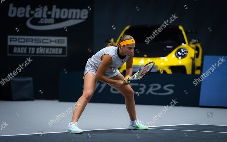 Jelena Ostapenko of Latvia in action during her second-round match