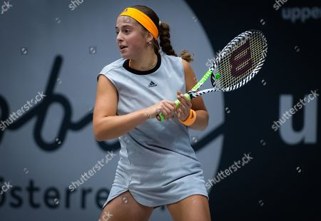 Stock Image of Jelena Ostapenko of Latvia in action during her second-round match