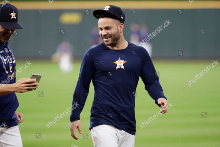 Houston Astros second baseman Jose Altuve before Game 5 of a baseball American League Division Series against the Tampa Bay Rays in Houston