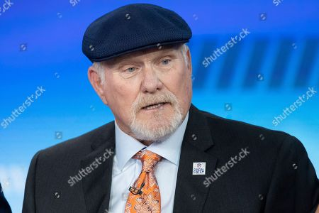 """Stock Photo of Fox Sports analyst Terry Bradshaw makes an appearance on Fox News show """"The Five"""", in New York"""