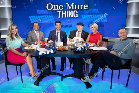 "Katie Pavlich, Juan Williams, Jesse Watters, Terry Bradshaw, Dana Perino, and Greg Gutfeld, Terry Bradwashaw. Fox Sports analyst Terry Bradshaw, third from right, makes an appearance on Fox News ""The Five"" with Katie Pavlich, left, Juan Williams, second from left, Jesse Watters, third from left, Dana Perino, second from right, and Greg Gutfeld, in New York"