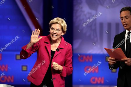 Elizabeth Warren, Chris Cuomo. Democratic presidential candidate Sen. Elizabeth Warren, D-Mass., speaks as CNN moderator Chris Cuomo listens during the Power of our Pride Town Hall, in Los Angeles. The LGBTQ-focused town hall featured nine 2020 Democratic presidential candidates