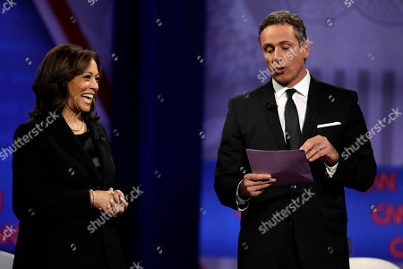 Stock Image of Kamala Harris, Chris Cuomo. Democratic presidential candidate Sen. Kamala Harris, D-Calif., laughs as CNN moderator Chris Cuomo speaks during the Power of our Pride Town Hall, in Los Angeles. The LGBTQ-focused town hall featured nine 2020 Democratic presidential candidates