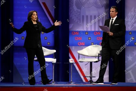 Kamala Harris, Chris Cuomo. Democratic presidential candidate Sen. Kamala Harris, D-Calif., answers a question as CNN moderator Chris Cuomo listens during the Power of our Pride Town Hall, in Los Angeles. The LGBTQ-focused town hall featured nine 2020 Democratic presidential candidates