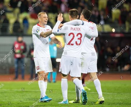 Robert Lewandowski, Krzysztof Piatek, Kamil Grosicki, gol, bramka, radosc