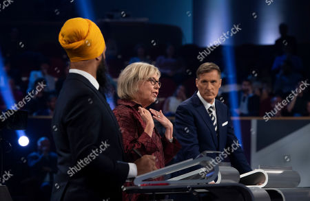Stock Image of New Democrat Party (NDP) leader Jagmeet Singh (L), Green Party leader Elizabeth May (C) and People's Party of Canada leader Maxime Bernier (R) take part in a Canadian federal political leaders debate in Gatineau, Quebec, Canada, 10 October 2019. Canadians will vote in the country's 43rd general election on 21 October 2019.