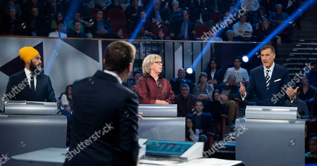 New Democrat Party (NDP) leader Jagmeet Singh (L, rear), Green Party leader Elizabeth May (C, rear) and People's Party of Canada leader Maxime Bernier (R, rear) take part in a Canadian federal political leaders debate in Gatineau, Quebec, Canada, 10 October 2019. Canadians will vote in the country's 43rd general election on 21 October 2019.