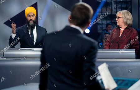 Stock Photo of New Democrat Party (NDP) leader Jagmeet Singh (L, rear) and Green Party leader Elizabeth May (R, rear) take part in a Canadian federal political leaders debate in Gatineau, Quebec, Canada, 10 October 2019. Canadians will vote in the country's 43rd general election on 21 October 2019.