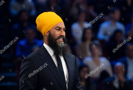 New Democrat Party (NDP) leader Jagmeet Singh takes part in a federal political leaders debate in Gatineau, Quebec, Canada, 10 October 2019. Canadians will vote in the country's 43rd general election on 21 October 2019.