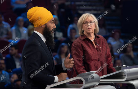 Stock Picture of New Democrat Party (NDP) leader Jagmeet Singh (L) and Green Party leader Elizabeth May (R) take part in a federal political leaders debate in Gatineau, Quebec, Canada, 10 October 2019. Canadians will vote in the country's 43rd general election on 21 October 2019.