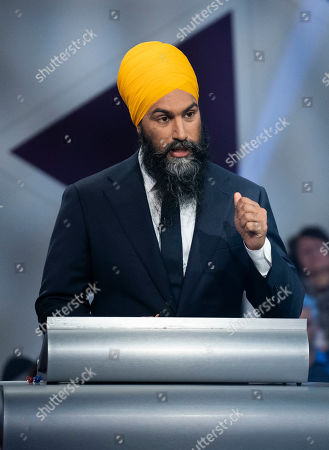 New Democrat Party (NDP) leader Jagmeet Singh takes part in a political leaders debate in Gatineau, Quebec, Canada, 10 October 2019. Canadians will vote in the country's 43rd general election on 21 October 2019.