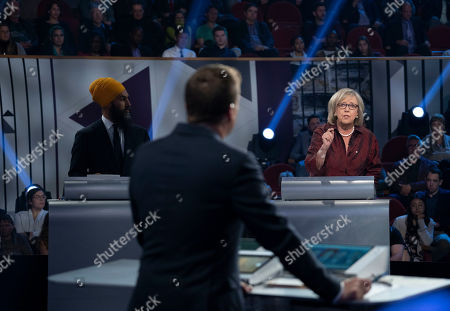 Stock Picture of New Democrat Party leader Jagmeet Singh (L, rear) and Green Party leader Elizabeth May (R, rear) take part in a federal political leaders debate in Gatineau, Quebec, Canada, 10 October 2019. Canadians will vote in the country's 43rd general election on 21 October 2019.