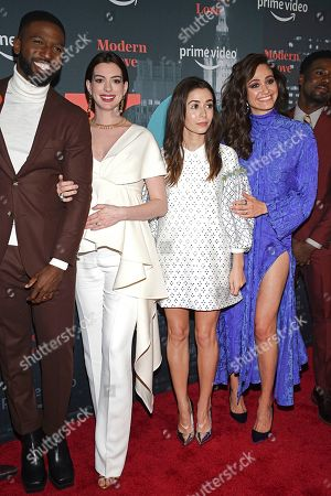 """Brandon Kyle Goodman, Anne Hathaway, Cristin Milioti, Emmy Rossum. Actors Brandon Kyle Goodman, left, Anne Hathaway, Cristin Milioti and Emmy Rossum pose together at the premiere party for the Amazon Original series """"Modern Love"""" at a Museum of Modern Love pop-up venue, in New York"""