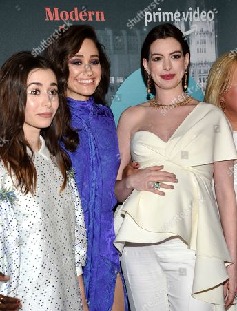 """Cristin Milioti, Emmy Rossum, Anne Hathaway. Actresses Cristin Milioti, from left, Emmy Rossum and Anne Hathaway pose together at the premiere party for the Amazon Original series """"Modern Love"""" at a Museum of Modern Love pop-up venue, in New York"""