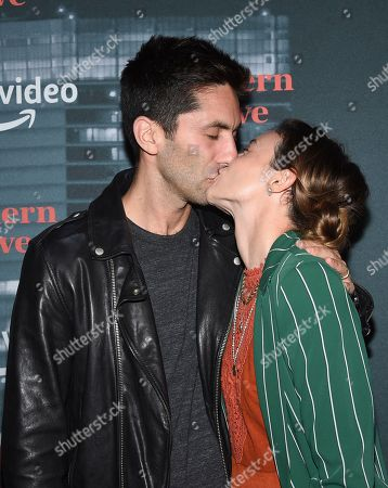 """Nev Shulman, Laura Perlongo. Nev Shulman, left, and Laura Perlongo attend the premiere party for the Amazon Original series """"Modern Love"""" at a Museum of Modern Love pop-up venue, in New York"""