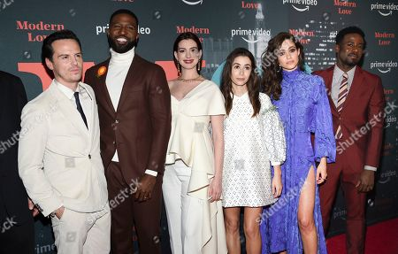 """Andrew Scott, Brandon Kyle Goodman, Anne Hathaway, Cristin Milioti, Emmy Rossum, Gary Carr. Actors Andrew Scott, left, Brandon Kyle Goodman, Anne Hathaway, Cristin Milioti, Emmy Rossum and Gary Carr pose together at the premiere party for the Amazon Original series """"Modern Love"""" at a Museum of Modern Love pop-up venue, in New York"""