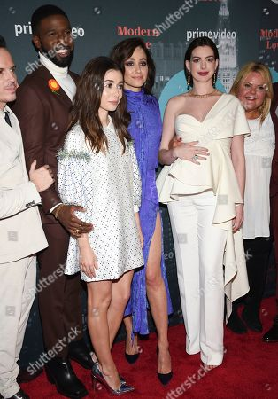 """Brandon Kyle Goodman,Cristin Milioti, Emmy Rossum, Anne Hathaway. Actors Brandon Kyle Goodman, left, Cristin Milioti, Emmy Rossum and Anne Hathaway pose together at the premiere party for the Amazon Original series """"Modern Love"""" at a Museum of Modern Love pop-up venue, in New York"""
