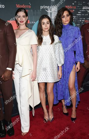 """Anne Hathaway, Cristin Milioti, Emmy Rossum. Actors Anne Hathaway, left, Cristin Milioti and Emmy Rossum pose together at the premiere party for the Amazon Original series """"Modern Love"""" at a Museum of Modern Love pop-up venue, in New York"""