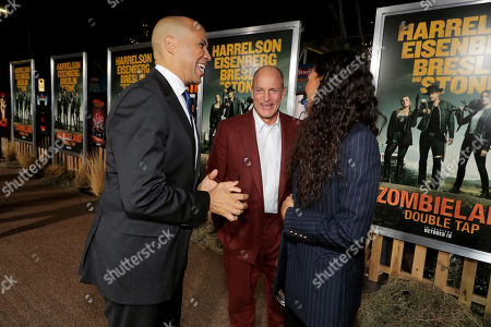 Cory Booker, Woody Harrelson and Rosario Dawson