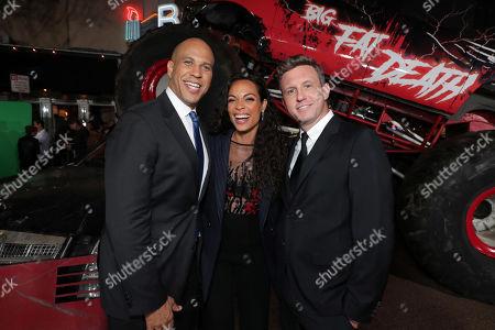 Cory Booker, Rosario Dawson and Ruben Fleischer, Director/Executive Producer,