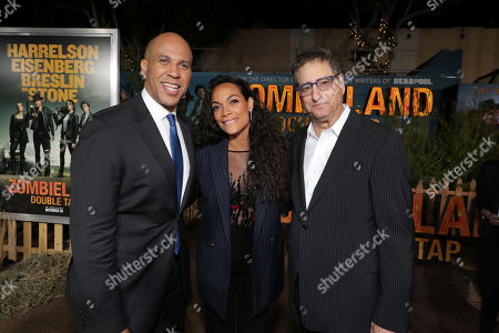 Cory Booker, Rosario Dawson and Tom Rothman, Chairman, Sony Pictures Entertainment Motion Picture Group,