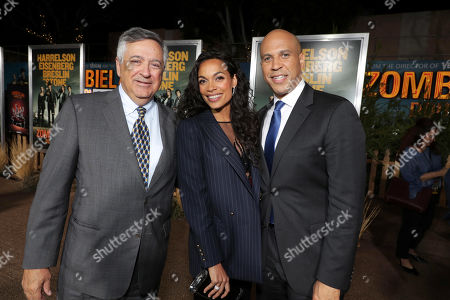Stock Photo of Tony Vinciquerra, Chairman and CEO of Sony Pictures Entertainment, Rosario Dawson and Cory Booker