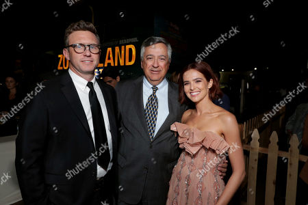 Stock Image of Ruben Fleischer, Director/Executive Producer, Tony Vinciquerra, Chairman and CEO of Sony Pictures Entertainment, and Zoey Deutch