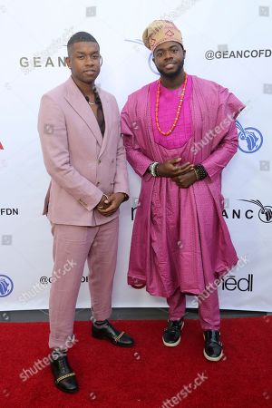 Stock Picture of Matt Sallee, Kevin Olusola. Matt Sallee, left, and Kevin Olusola attend the GEANCO Foundation Hollywood Gala at the SLS Beverly Hills, in Los Angeles