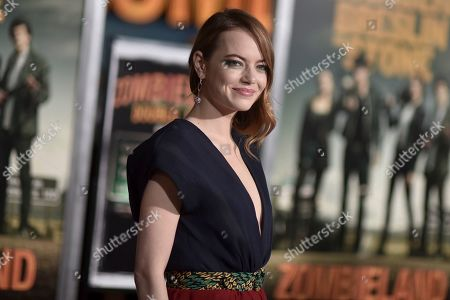 "Emma Stone attends the LA Premiere of ""Zombieland: Double Tap"" at the Regency Village Theatre, in Los Angeles"