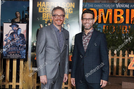 Stock Photo of Paul Wernick (L) and Rhett Reese (R) arrive for the premiere of the movie 'Zombieland: Double Tap' at the Regency Village Theater in Los Angeles, California, USA, 10 October 2019. The movie will be released in theaters 18 October.