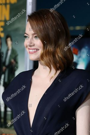 Emma Stone poses on the red carpet as she arrives for the premiere of the movie 'Zombieland: Double Tap' at the Regency Village Theater in Los Angeles, California, USA, 10 October 2019. The movie will be released in theaters 18 October.