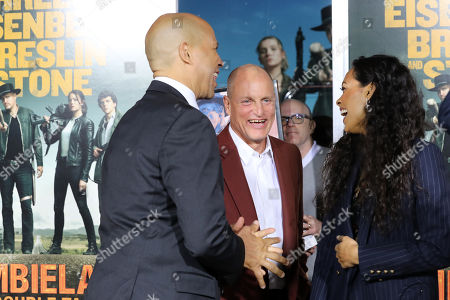 US Senator of New Jersey Cory Booker (L), US actor Woody Harrelson (C), and US actress Rosario Dawson (R) arrive for the premiere of the movie 'Zombieland: Double Tap' at the Regency Village Theater in Los Angeles, California, USA, 10 October 2019. The movie will be released in theaters 18 October.