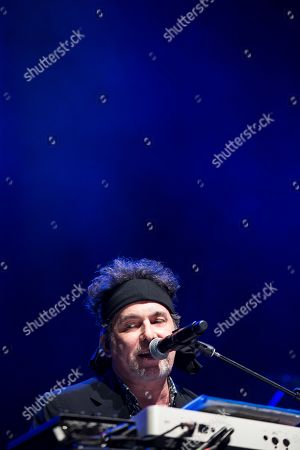 Argentinian singer Andres Calamaro performs during a concert to present his disc 'Cargar la Suerte', at the Movistar Arena in Santiago, Chile, 10 October 2019.