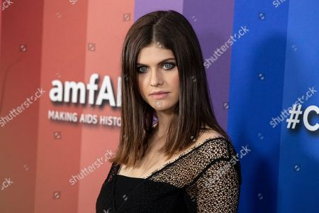 US actress Alexandra Daddario poses for the photographers on the red carpet at the Milk Studios in Los Angeles, California, USA, 10 October 2019. The amfAR is an international nonprofit organization dedicated to the support of AIDS research, HIV prevention, treatment education, and the advocacy of AIDS-related public policy.
