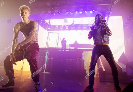 Stock Photo of Machine Gun Kelly, Colson Baker, Young Thug, Jeffery Lamar Williams. Machine Gun Kelly, left, and Young Thug perform in concert at The Met, in Philadelphia