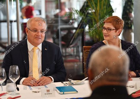 Prime Minister Scott Morrison (L) and Minister for Foreign Affairs Marise Payne (R) meet  with Fiji Prime Minister Frank Bainimarama at the Grand Pacific Hotel in Suva, Fiji, 11 October 2019. Morrison is on a two-day visit to Fiji.