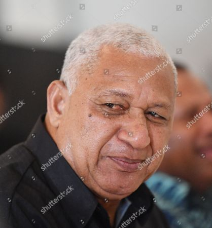 Fiji Prime Minister Frank Bainimarama looks on during a meeting with Australian Pime Minister Scott Morrison at the Grand Pacific Hotel in Suva, Fiji, 11 October 2019. Morrison is on a two-day visit to Fiji.